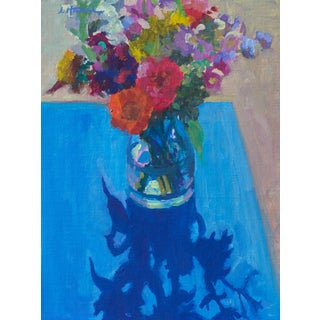 Bouquet on Blue Painting For Sale