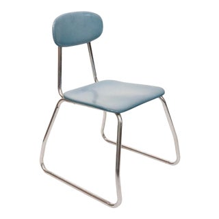 Mid Century Chrome and Wood Children Chair For Sale