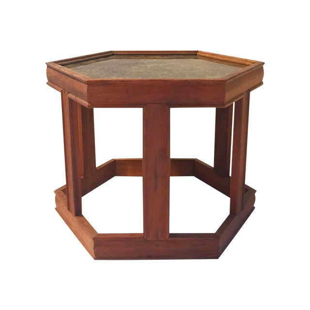 Mid-Century Hexagonal Side Table - Image 1 of 7