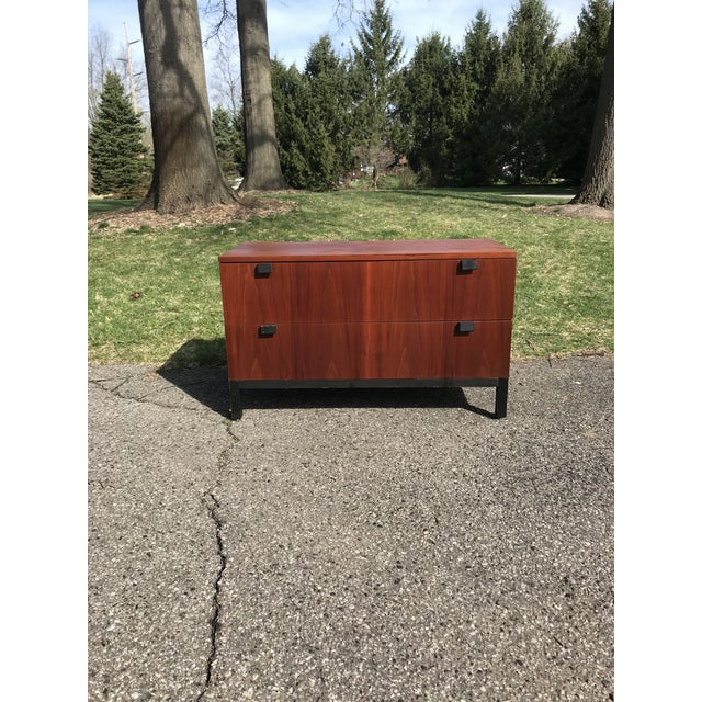 Wood Walnut and Black Art Deco 2 Drawer Chest For Sale - Image 7 of 7