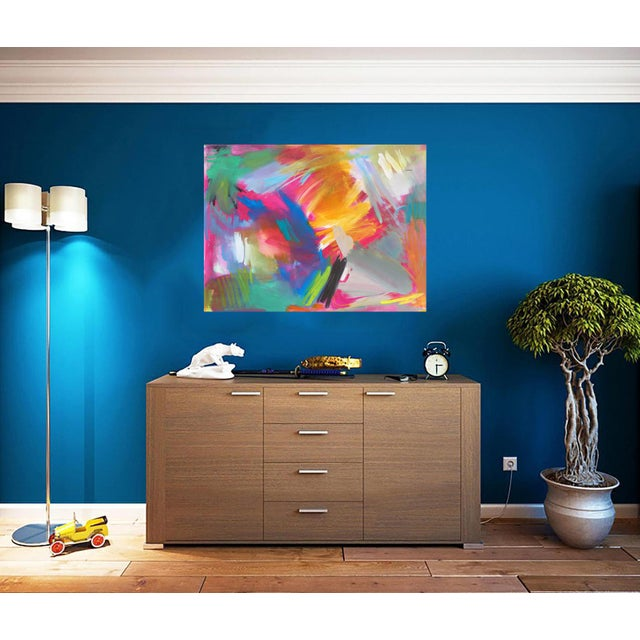 """""""Here Comes the Sun"""" by Trixie Pitts Large Abstract Oil Painting For Sale - Image 9 of 11"""