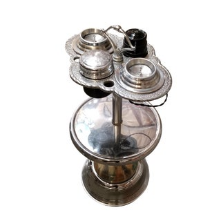 Chrome Art Deco Two Tier Ashtray Stand With Electric Lighter For Sale
