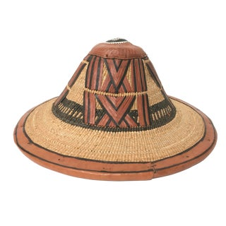 West African Fulani Straw and Leather Hat For Sale