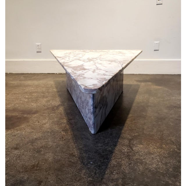 1970s Triangular White Marble Italian Coffee Table For Sale In Dallas - Image 6 of 11