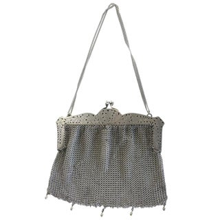 Sterling Silver Victorian Chain Mesh Purse For Sale