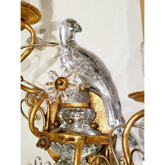 French Maison Baquès Bronze and Crystal Parrot Sconces - a Pair For Sale - Image 4 of 8