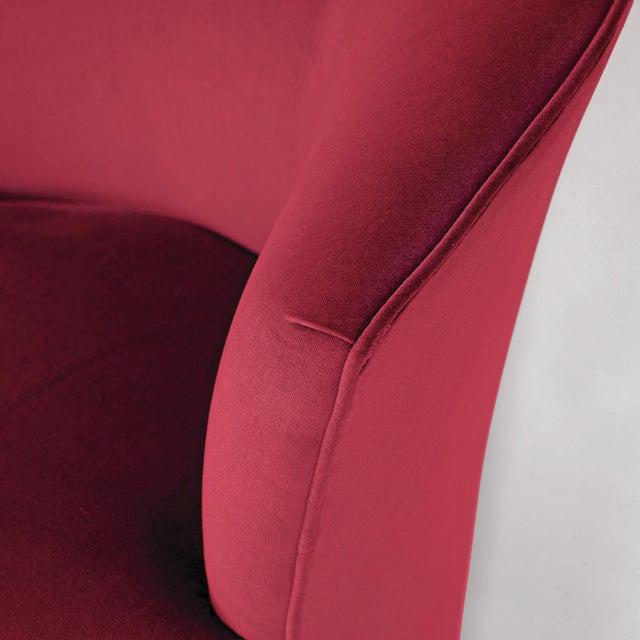 1970s Vintage Barrel Chairs Reupholstered in Hardy Cotton Cerise Pink Velvet - Set of 4 For Sale - Image 5 of 6