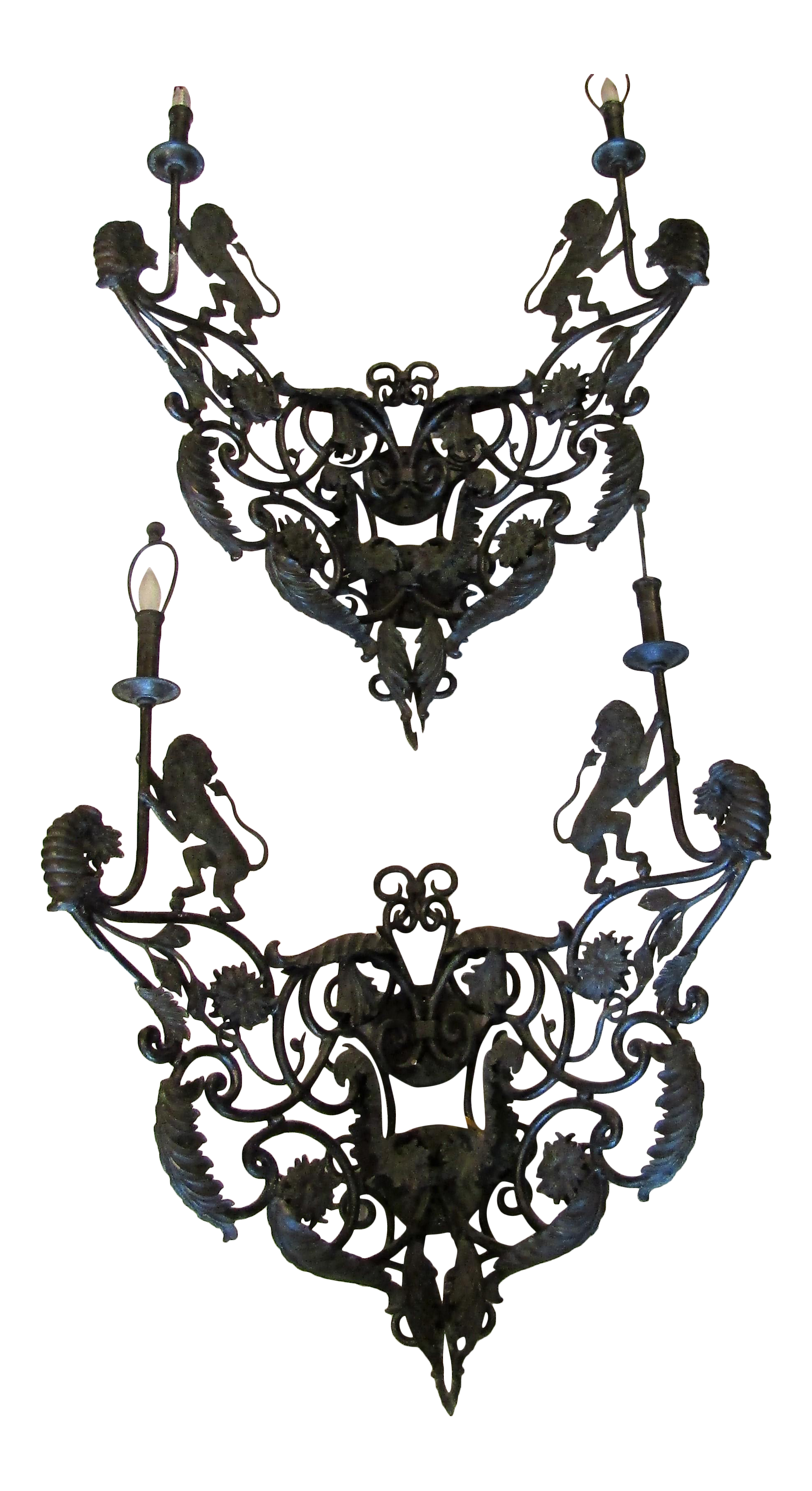 large iron sconces