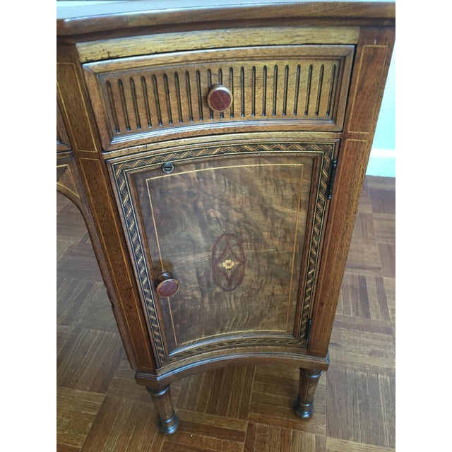 Bow Front Tapestry Top Inlaid Wooden Writing Desk - Image 5 of 10