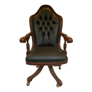 Oversized Black Leather Tufted Swivel Office Chair For Sale
