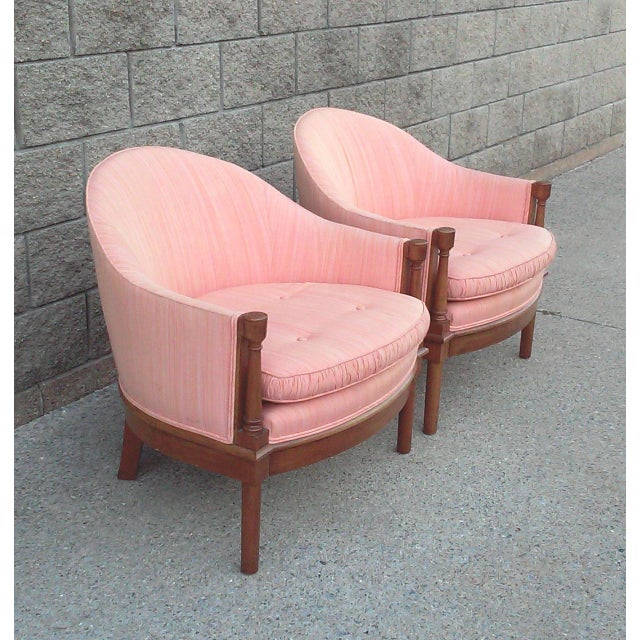 Neoclassical Salmon Dupioni Silk Tub Chairs-A Pair For Sale - Image 3 of 7