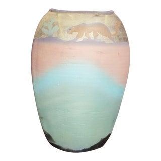 Michael Weinberg Southwestern Tiger/Panther Raku Pillow Vase