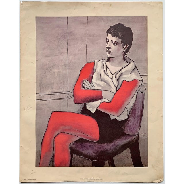 """Lithograph 1970s Vintage Pablo Picasso """"The Seated Acrobat"""" Lithograph Print For Sale - Image 7 of 7"""