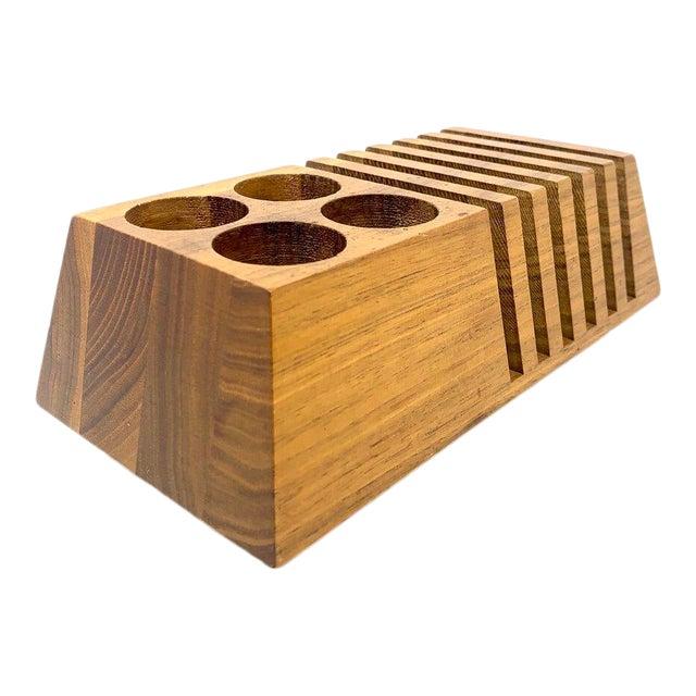Mid-Century Modern Geometric Wooden Desk Organizer For Sale