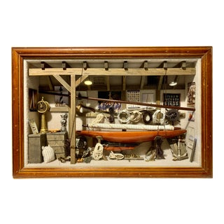 Vintage Sailboat Diorama Shipbuilders Nautical Wall Art For Sale