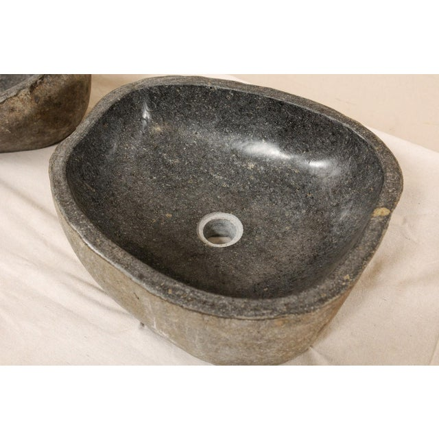 Pair of Carved and Polished Grey River Rock Sink Basins For Sale In Atlanta - Image 6 of 12