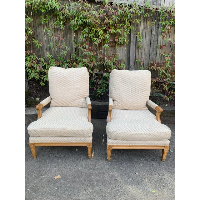 Wood Nancy Corzine Upholstered Chairs - a Pair For Sale - Image 7 of 7