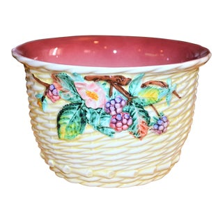 Vintage Italian Majolica Woven Planter For Sale