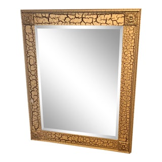 Modern Taupe Crackle Beveled Mirror For Sale