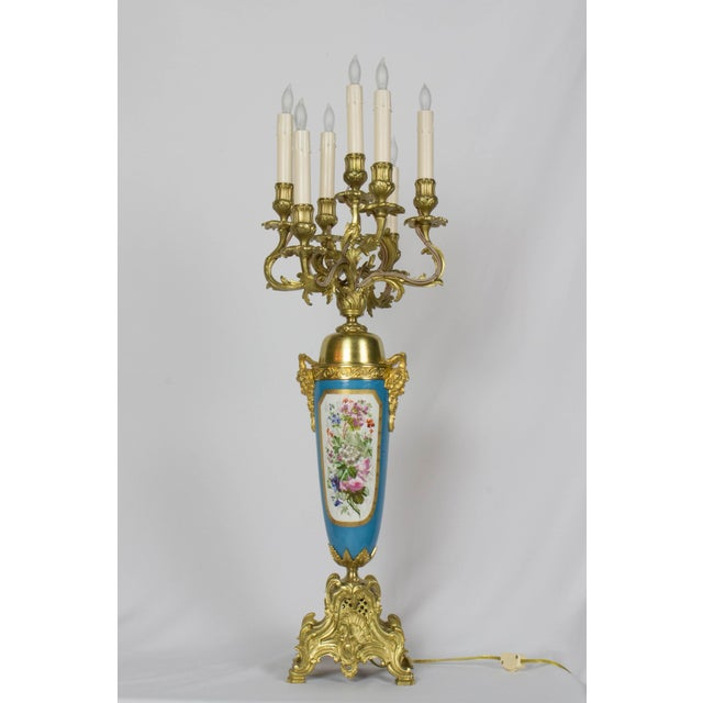 White Large Urn Form French Gilt Bronze and Turquoise Porcelain Candelabra For Sale - Image 8 of 10