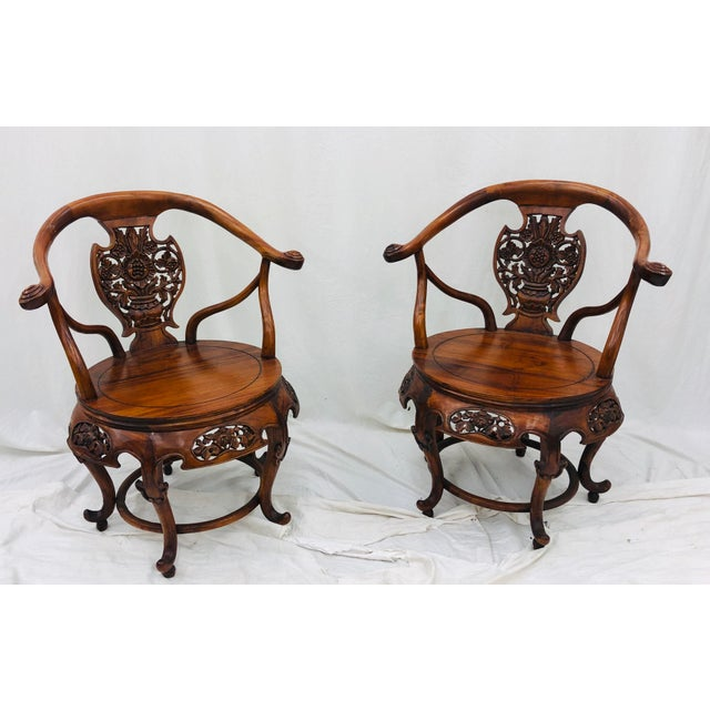 Pair Antique Carved Arm Chairs For Sale - Image 13 of 13