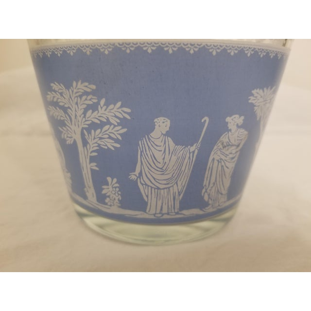 Jeannette Glass Vintage 1950s Jeanette Glass Co Blue Wedgewood Hellenic Grecian Ice Bucket For Sale - Image 4 of 8