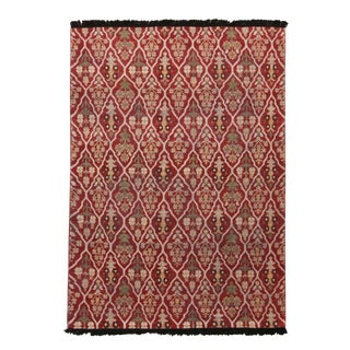 Burano Beige and Burgundy Red Wool Rug-5'3'x7'3' For Sale
