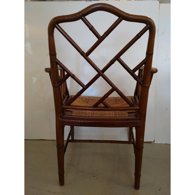 Vintage Chippendale Faux Bamboo Armchair For Sale - Image 4 of 9