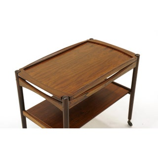 Danish Modern Rosewood Bar / Serving Cart, Removable Tray, Chrome Casters Preview