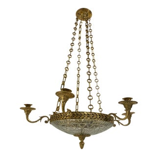 1930s French Empire Gilt Bronze Chandelier For Sale