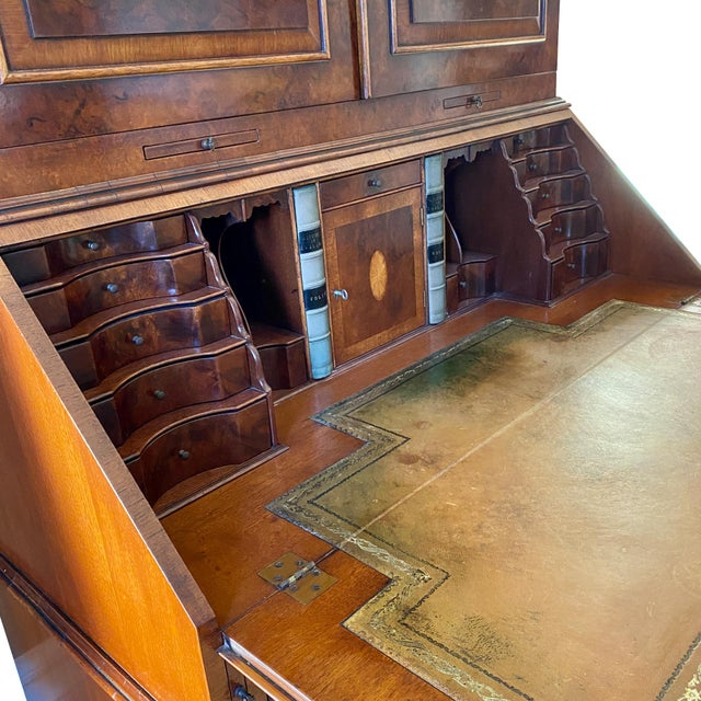 Mid 20th Century Vintage English Queen Anne Style Walnut Secretary Bookcase For Sale - Image 5 of 9