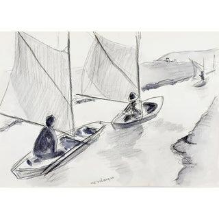 Watercolor of Greek Fishermen For Sale