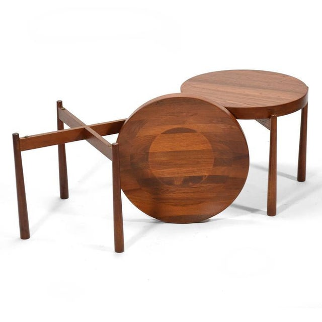 Brass Swedish Solid Teak Flip-Top Tables in the Manner of Jens Quistgaard For Sale - Image 7 of 11