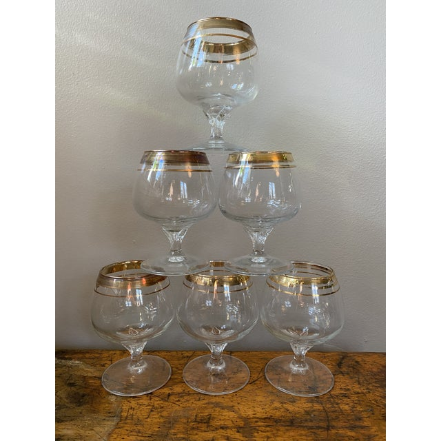 Mid 20th Century Vintage Crystal Snifter Glasses With Gold Rim - Set of 6 For Sale - Image 5 of 5