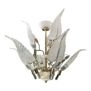 Murano Glass Palm Leaf Brass Chandelier For Sale