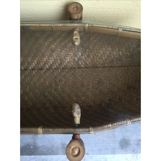 Vintage Pacific Style Rattan Console - Image 10 of 11