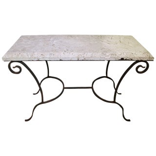 Mizner Palm Beach Rectangular Console Table in Wrought Iron and Coquina Stone For Sale