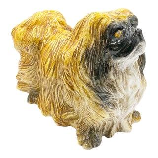 Vintage Italian Terra-Cotta Shih Tzu Dog Figure For Sale