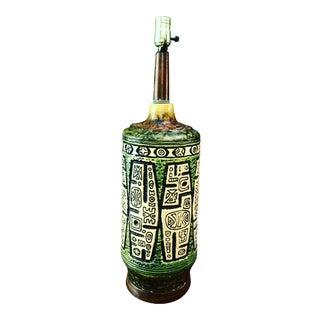Mid Century Art Pottery Lamp Tikki Style Large For Sale