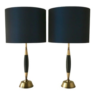 Pair of Ebonised Walnut and Brass Table Lamps 1960s For Sale