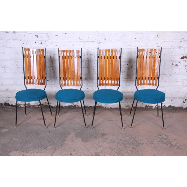 Arthur Umanoff for Shaver-Howard Mid-Century Modern High Back Dining Chairs, Set of Four For Sale - Image 9 of 9