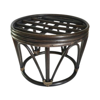 Vintage Bohemian Bamboo Round Rattan Cane Bentwood Drum Side Table For Sale