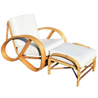 Restored 3/4 Pretzel Rattan Lounge Chair and Ottoman For Sale