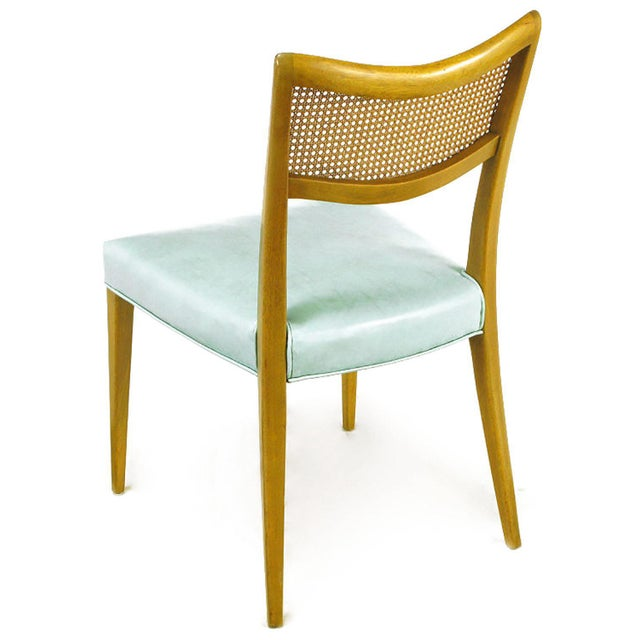 Harvey Probber Tiffany Blue Leather and Mahogany Side Chair - Image 4 of 9