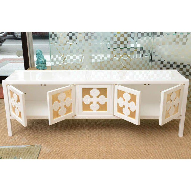 Mid-Century Modern White Lacquered and Gold Leaf Sideboard Cabinet Final Markdown For Sale - Image 10 of 11