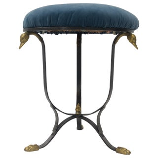 Hollywood Regency Vanity Stool in Steel and Brass With Blue Upholstery For Sale