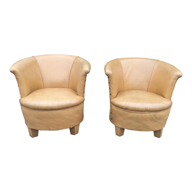 Vintage Spanish Barrel Back Leather Chairs- a Pair For Sale