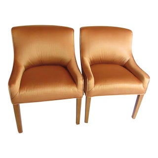 Contemporary Guy Chaddock Metallic Crocodile Upholstered Accent Chairs - a Pair