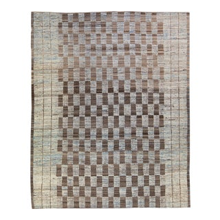 Modern Moroccan Style Handmade Brown Check Pattern Wool Rug For Sale