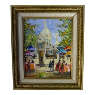 Original FrenchVintage Oil Painting of Montmartre Sacré-Cœur Paris Cafe Street Scene Signed Molakidis For Sale